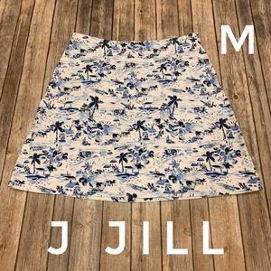 J Jill tropical island print short knit skirt
